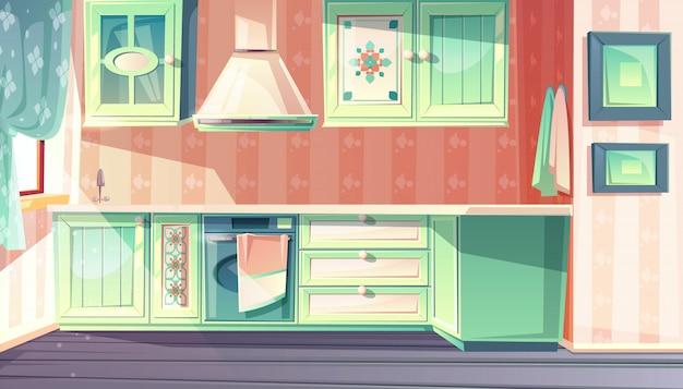 Kücheninnenraum in der retro- provence-artillustration. Kostenlosen Vektoren
