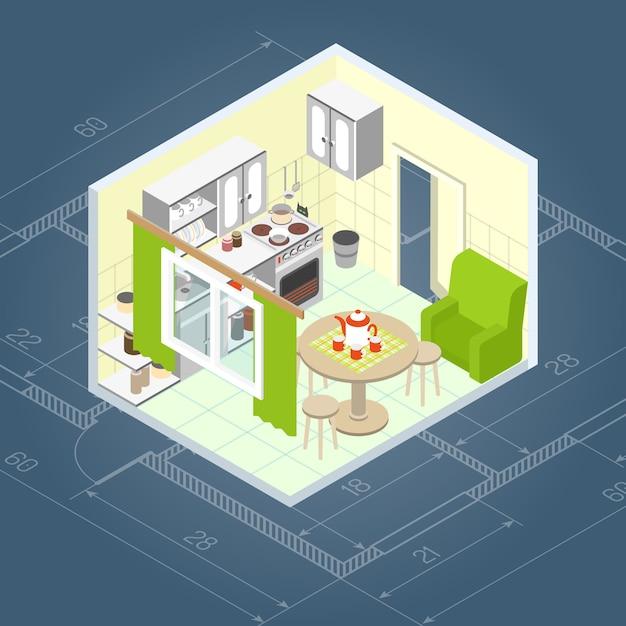Kücheninnenraum isometrisch Kostenlosen Vektoren