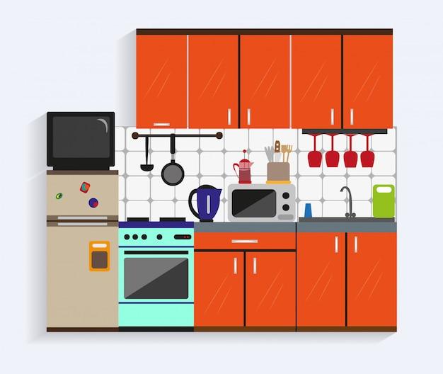 Kücheninnenraum mit möbeln im flachen stil Premium Vektoren