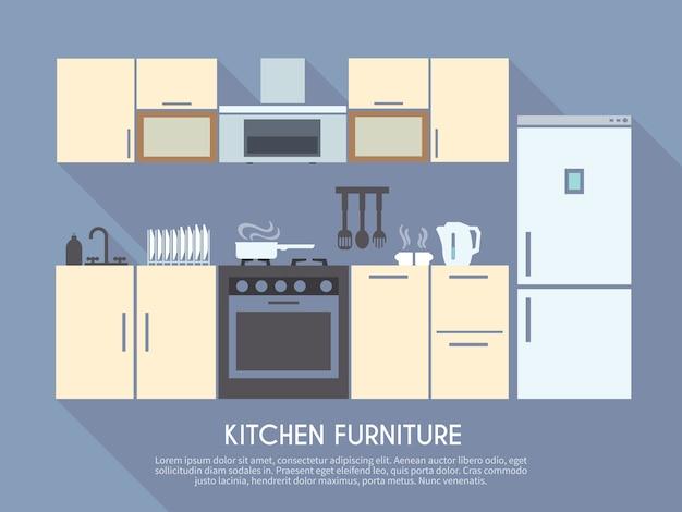 Küchenmöbel illustration Kostenlosen Vektoren