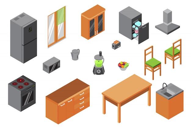 Küchenmöbel, isometrischer konstrukteur von haushaltsgeräten und küchengeräten isoliert auf weißem innen-3d-design. Premium Vektoren