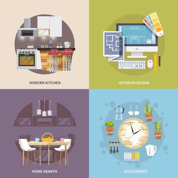 Küchenmöbel-set Kostenlosen Vektoren