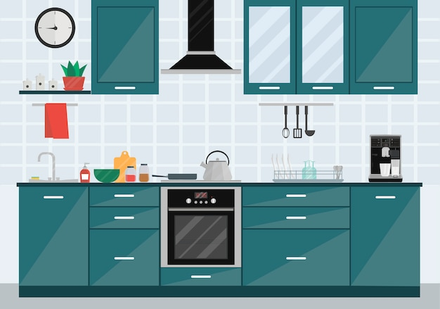 Küchenrauminnenraum mit geräten, wanne, kessel, ofen, tellern, dunstabzugshaube und möbeln. Premium Vektoren