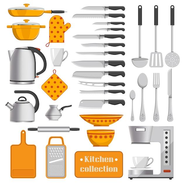 Küchensammlung scharfe messer, silbernes geschirr, eisenkessel, praktische geräte, kaffeemaschine und punktierte topflappen-vektorillustrationen. Premium Vektoren