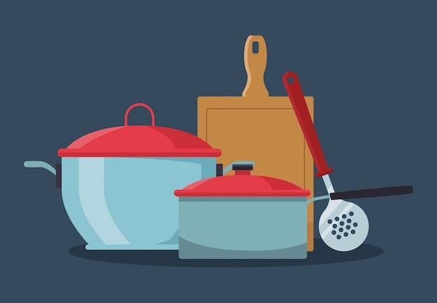 Küchentöpfe mit schneidebrett und abschäumer Premium Vektoren