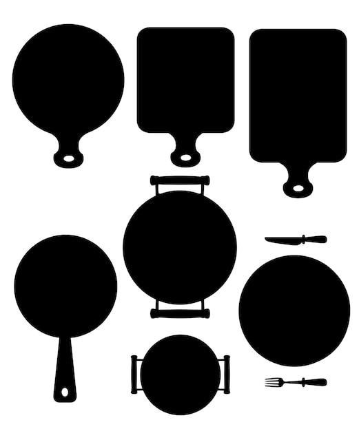 Küchenutensilien gesetzt. holzschneidebrett, pfanne, pfanne und weiße keramikplatte. schwarz für website oder restaurantmenü, etikett. flache illustration lokalisiert auf weißem hintergrund. Premium Vektoren