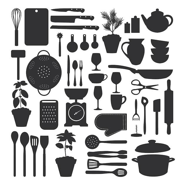 Küchenwerkzeugsatz lokalisiert Premium Vektoren