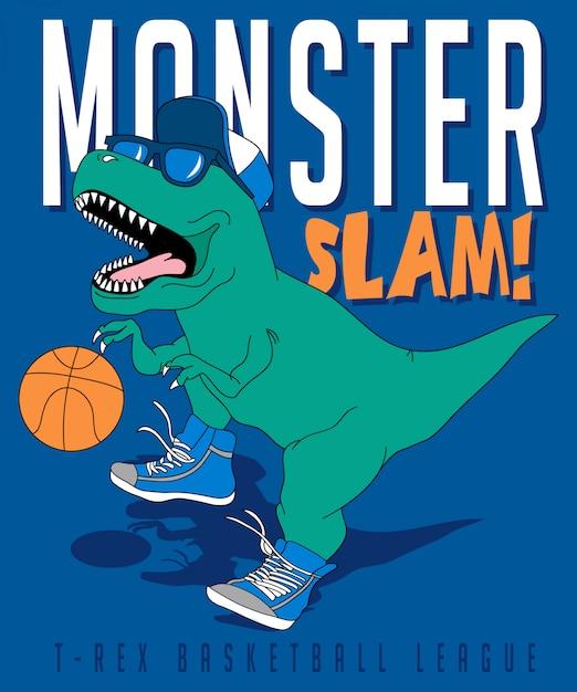 Kühler dinosaurier, der basketball spielt Premium Vektoren