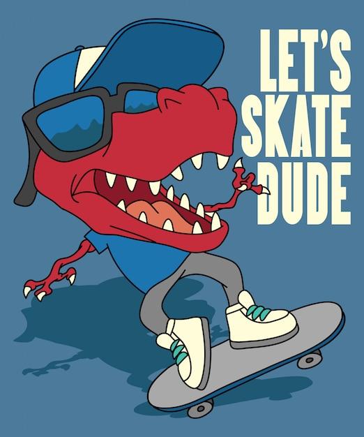 Kühler dinosaurier, der vektordesign skateboard fährt Premium Vektoren