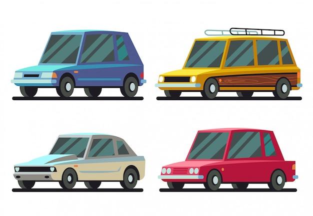 Kühler karikatursport und reiseautos-vektorsatz Premium Vektoren