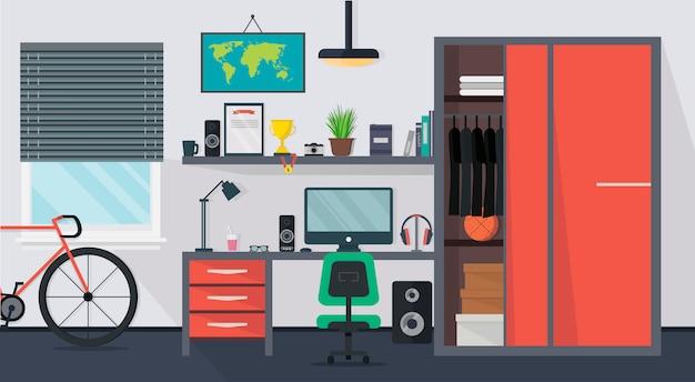 Kühler moderner jugendlichrauminnenraum mit tabelle, stuhl, schrank, computer, fahrrad, lampe, büchern und fenster in der flachen art. Premium Vektoren