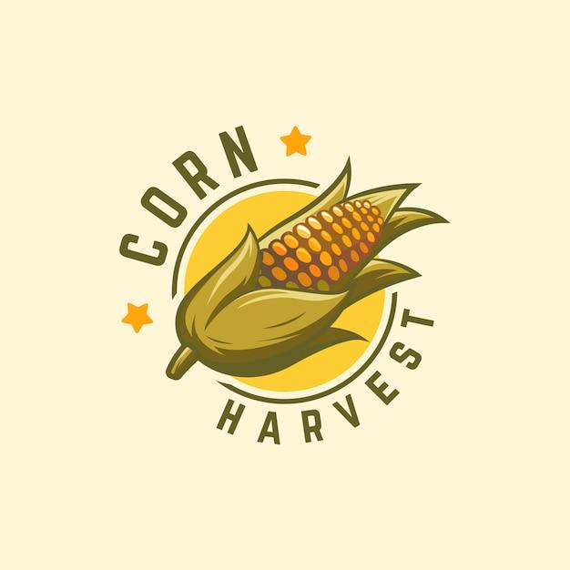 Kühles ausweis-mais-erntelogo, maislogo, landwirtschaft Premium Vektoren