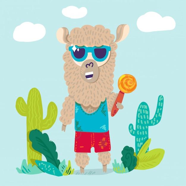 Kühles lama in der sonnenbrillezeichentrickfilm-figur Premium Vektoren