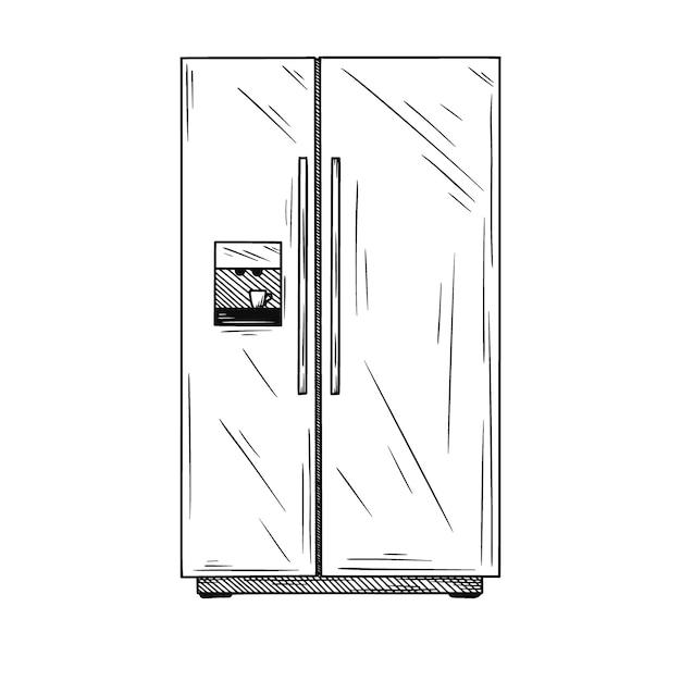Kühlschränke auf weißem hintergrund. illustration eines skizzenstils. Premium Vektoren