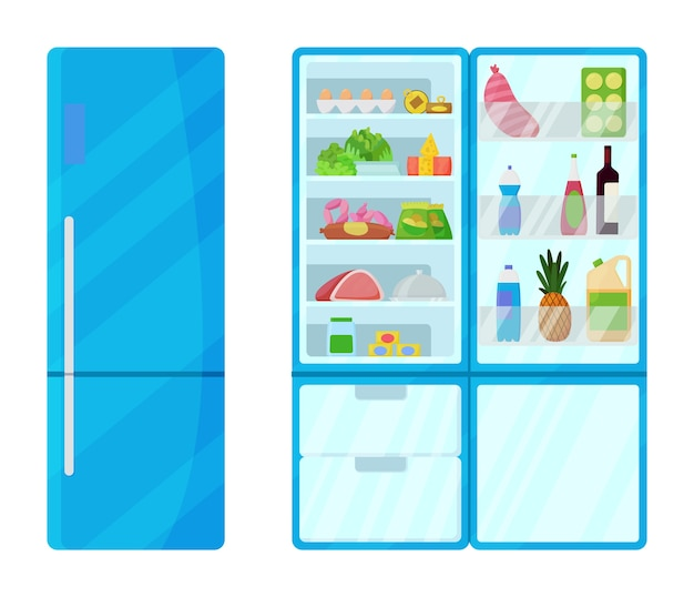 Kühlschrank mit lebensmittelillustration Premium Vektoren