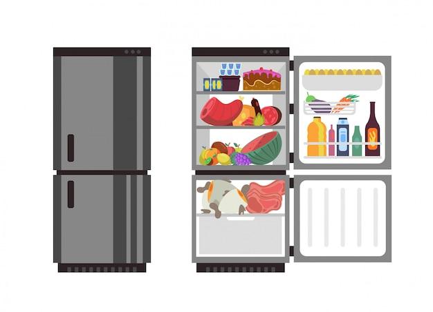 Kühlschrank öffnen und schließen. küchen kühlschrank mit lebensmitteln Premium Vektoren
