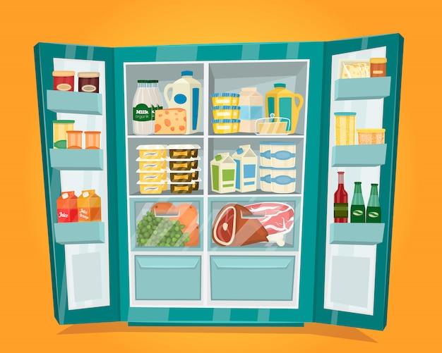 Kühlschrank voll des lebensmittelvektors im flachen design Premium Vektoren