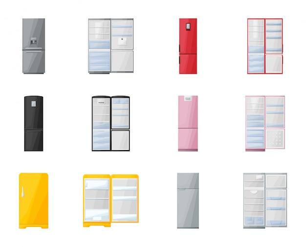 Kühlschrankvektorkarikaturillustration küchenkühlschrank-vektorikone lokalisierter karikatursatz des modernen kühl- und gefrierschranks lokalisierter ikonenkühlschrank für lebensmittel. Premium Vektoren