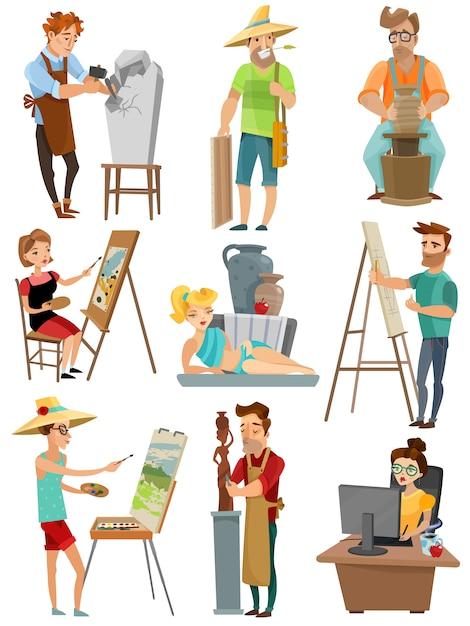 Künstler-cartoon-set Kostenlosen Vektoren
