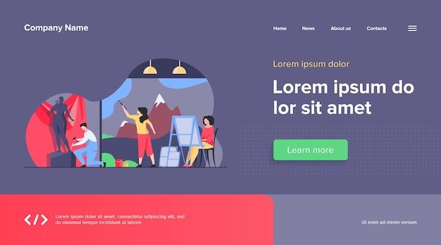 Künstler erstellen webvorlage für kunstwerke. kreative figuren malen, zeichnen und formen in der werkstatt. studio, grafikdesign und kunstkonzept Kostenlosen Vektoren