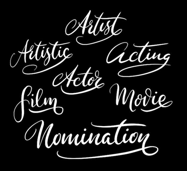Künstler nominierung handschrift kalligraphie Premium Vektoren