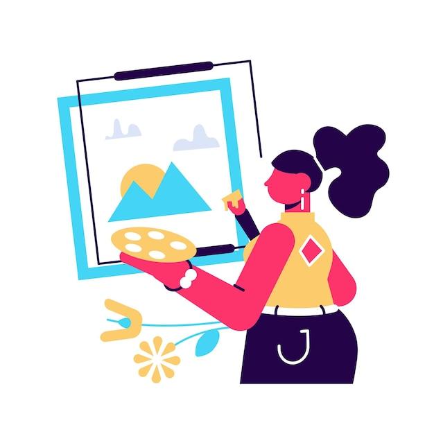 Künstlerin, die an der staffelei steht und malt Premium Vektoren