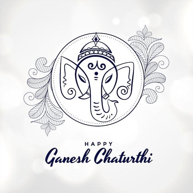 Künstlerische glückliche ganesh chaturthi festivalkarte Kostenlosen Vektoren