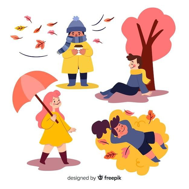 Künstlerische illustration mit herbstdesign Kostenlosen Vektoren