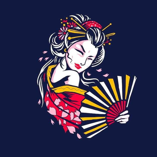 Künstlerische japanische geisha-illustration Premium Vektoren