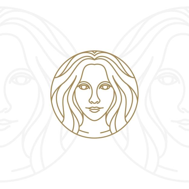 Künstlerische schönheitsfrauen-logodesign Premium Vektoren