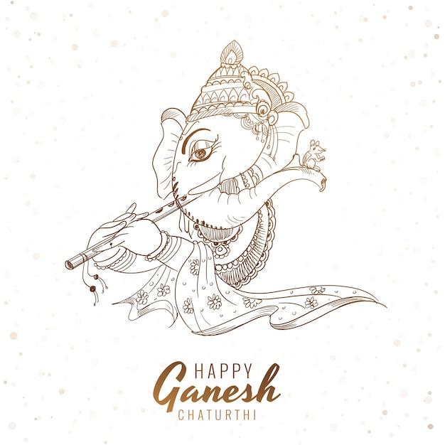 Künstlerische skizze ganesh chaturthi festival kartenhintergrund Kostenlosen Vektoren