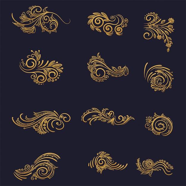 Künstlerisches goldenes dekoratives blumen-set-design Kostenlosen Vektoren