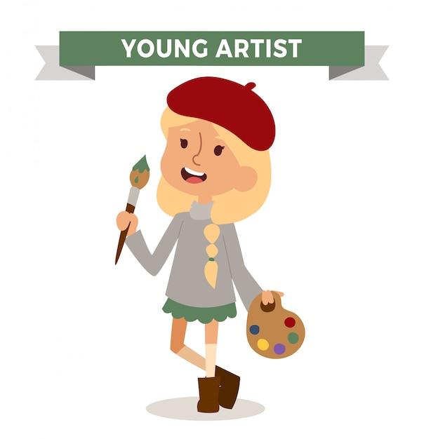 Künstlermädchen mit dem kunstpinsel lokalisiert Premium Vektoren