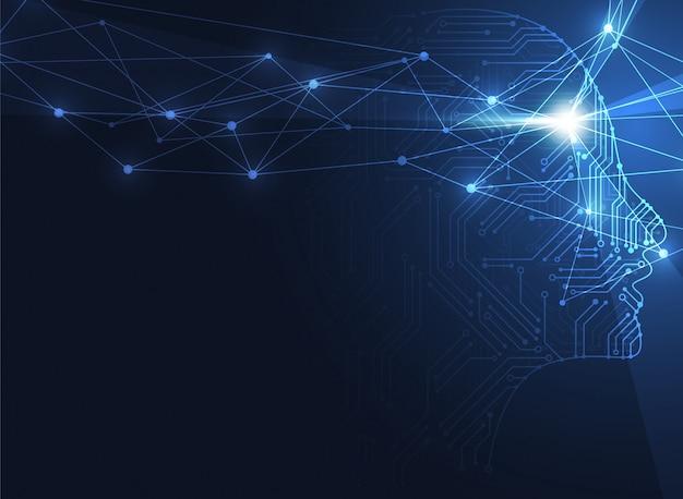 Künstliche intelligenz. abstrakter geometrischer hintergrund des menschlichen kopfes Premium Vektoren