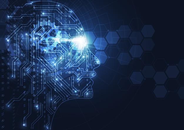 Künstliche intelligenz. abstrakter geometrischer menschlicher kopf Premium Vektoren