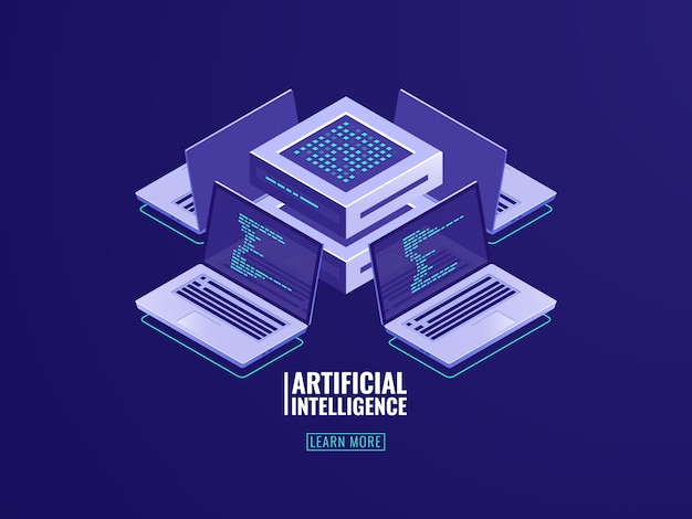 Künstliche intelligenz automatisiert prozess big data processing, serverraum, rechenleistung Kostenlosen Vektoren