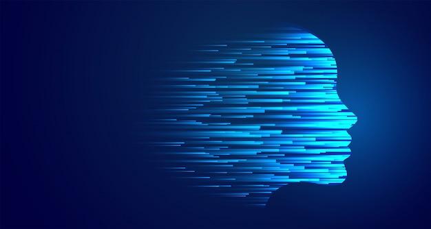 Künstliche intelligenz des glühenden blauen gesichts der technologie Kostenlosen Vektoren