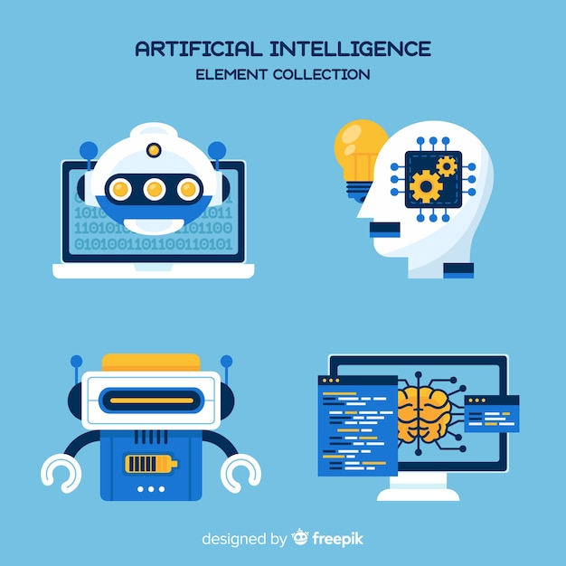 Künstliche intelligenz-elementsammlung im flachen design Premium Vektoren