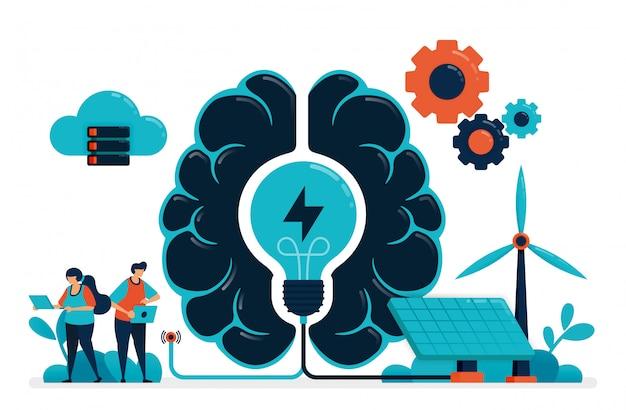 Künstliche intelligenz für intelligente grüne energie. künstliche gehirnversorgung energie-management. zukunftsenergie mit solarzelle und wind. idee in der kunsttechnologie. Premium Vektoren