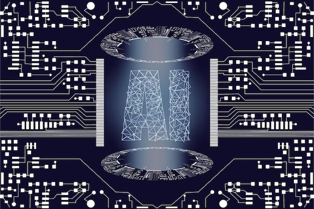 Künstliche intelligenz (ki) zielseite. websiteschablone für tiefes lernkonzept. Premium Vektoren