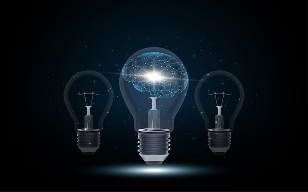 Künstliche intelligenz menschliches gehirn in glühbirne Premium Vektoren