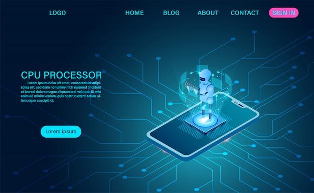 Künstliche intelligenz robotertechnologie. big data processing, cpu-prozessor isometrische banner. isometrische vektor dunkle neon Premium Vektoren