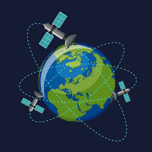 Künstliche satelliten, die den planeten erde umkreisen Premium Vektoren