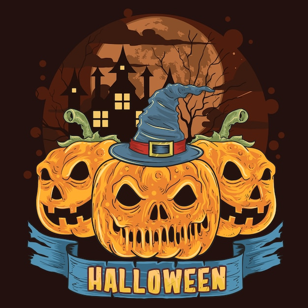 Kürbis-halloween-trick-oder-behandlung-schädel-kopf-arbeit Premium Vektoren