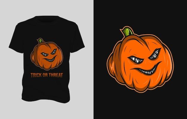Kürbisillustrations-t-shirt design Premium Vektoren