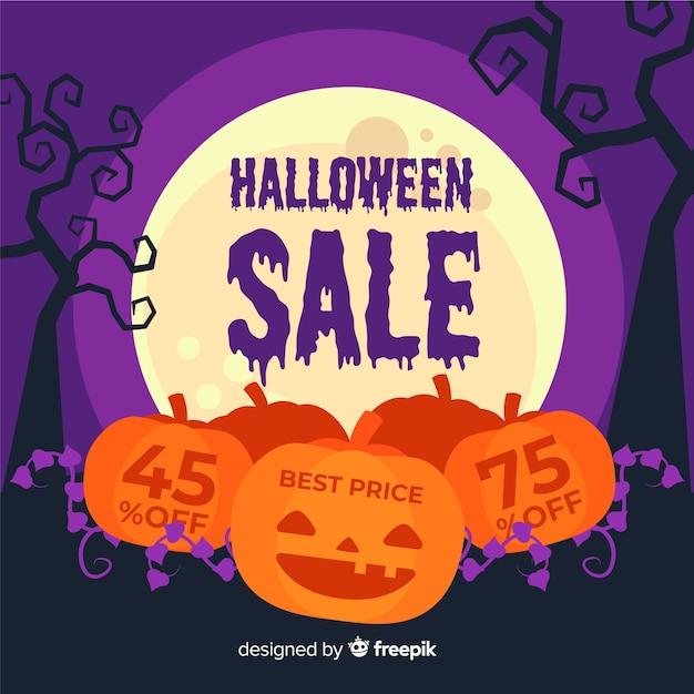 Kürbisse flache halloween-verkauf Kostenlosen Vektoren