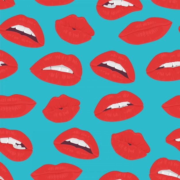 Küssen nahtloses muster der weinlese rote lippen Premium Vektoren