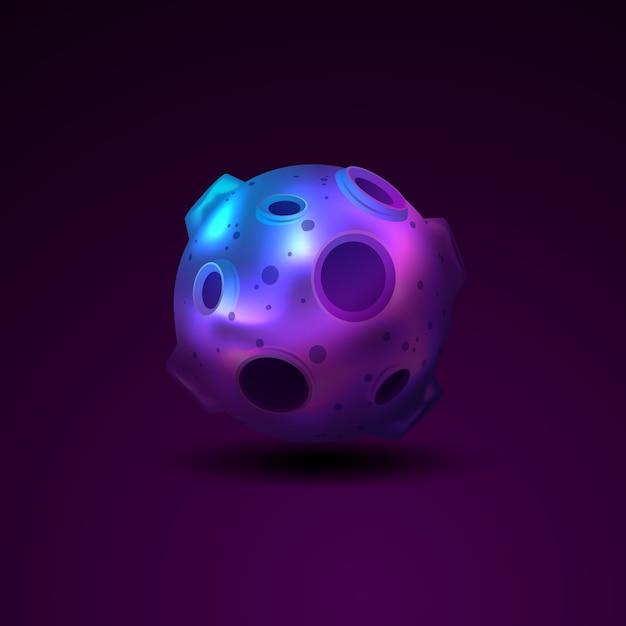 Kugel des planeten 3d mit kratern Kostenlosen Vektoren