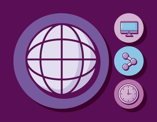 Kugel mit monitor und icons Kostenlosen Vektoren