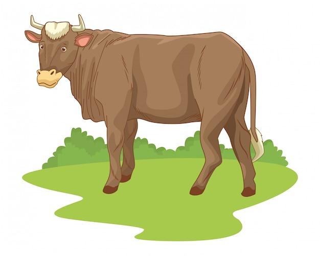 Kuh in der naturlandschaftskarikatur Premium Vektoren